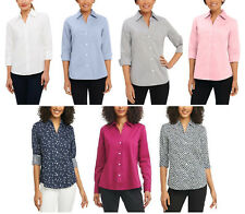 NEW!! Foxcroft NYC Women's Easy Care Non Iron Stretch Poplin Button Front Shirt