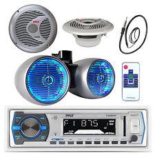 """Silver 6.5"""" LED Tower Speakers,Antenna, Bluetooth USB Radio,Marine 6.5"""" Speakers"""