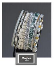 Luxus Breit Leder Armband Bi&Jou Ibiza Brasilien Magnetverschluss Wickelarmband