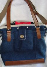 Orla Kiely Navy Wool w/Black Red Removable Lining Crossbody Tote Handbag NEW$475