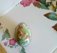 Small Adorable Antique Vtg English Made Tin Litho Easter Egg Candy Holder Chicks