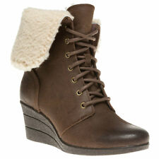 UGG® AUSTRALIA ZEA LEATHER & SHEARLING WEDGE ANKLE BOOTS UK 4.5 EUR 37 RRP £130