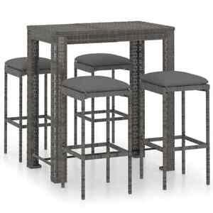 Garden Bar Set with Cushions Poly Rattan Grey 5 Piece
