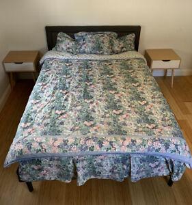Vintage Laura Ashley Bedding Set Floral Green Comforter Skirt Shams Cottagecore
