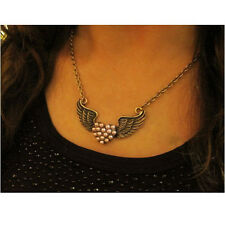 BIG PEARL LOVE HEART retro  ANGEL WINGS NECKLACE vintage brass ROCKABILLY