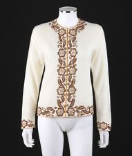 Vtg KOWLOON BEAD ARTS CO. c.1950 s Ivory Floral Beaded Wool Cardigan Sweater 98dbc4460