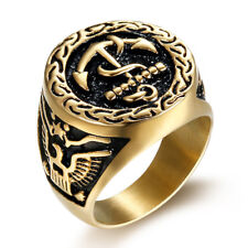 18k Gold Plated Titanium Steel Eagle Engraved Cool Men's Black Anchors Ring M94