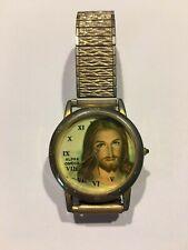 Antique Vintage H Speidel Alpha Omega VII Jesus God Watch Gold Silver Tone