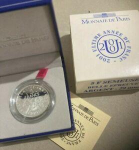 COFFRET BE - 5 Francs 2001 - Semeuse - argent 900‰ - Boite +certificat