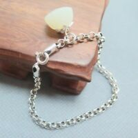 Natural Nephrite Jade Flower Charm Real 925 Sterling Silver Rolo Link Bracelet