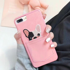 For iPhone 3D Case Cover Cute Cartoon French Bulldog Dog Lace Handmade Pocket