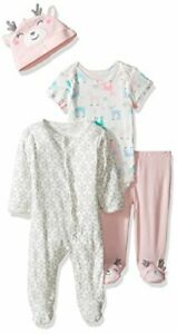 Carter's baby girl's 3 month 4 piece snow deer outfit jumsuit hat pants set