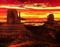 Monument Valley Landscape Art - Oil Painting in Poster Wall Print FREE SHIPPING
