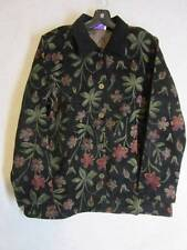 SUSAN GRAVER Fall JACKET Sz L  Brocade Type Black Deep Pink Greens NEW