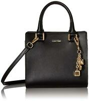 Calvin Klein womens Calvin Klein Logan Mercury Leather Crossbody, black/gold, On