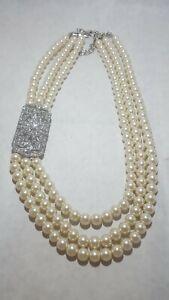 triple strand pearl rhinestone necklace
