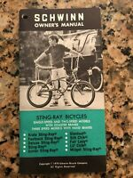 Schwinn Owner's Manual 1970 Sting Ray Bicycles