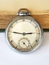 Vintage-Rhodium Plated Pocket Watch-16 Jewel Breguet With Swan Neck Regulator