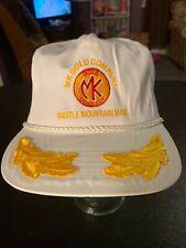 Vtg 80s Otto Cap MK Gold Castle Mountain Mine Strapback Hat Cap White Yellow