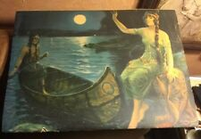 Antique Original Indian Maiden Wilderness Into The Romance Moonlight Print