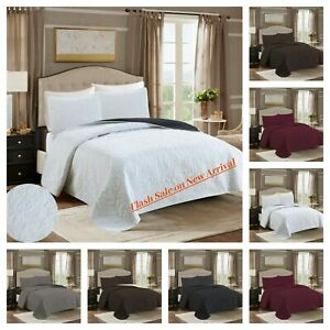 2/3 PC Embossed  Bed Spread Coverlet Quilt Set Bedding Cover King Queen Twin
