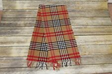 Plaid cashmere scarf, tan, black and red, great condition