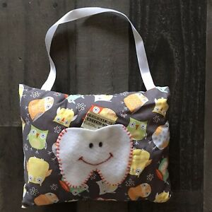 Childrens Tooth Fairy Pillow Multi Colored Owls On Gray Fabric Orange Stitches