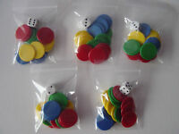 5 Packs of Counters and Dice, Tiddlywinks, total 80 (22mm) counters & 5 dice