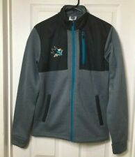 NHL Hockey San Jose Sharks Full Zip Soft Shell Jacket Grey, Blue and Black