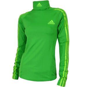 Adidas Damen Fleece Ski Rolli Warm Langlauf Pullover Sport Top Running DSV grün