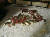 3 Vintage HOMCO Metal HOLLY Leaves /POINSETTIAS WALL DECOR