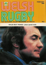 Welsh Rugby MAGAZINE febbraio 1980, il Galles / Francia, ST cyres SCUOLA, lampeter