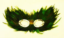 Green And Black Feather Eye Mask Masquerade Ball Fancy Dress