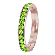 Stainless Steel Rose Gold Plated Eternity Peridot August Birthstone Ring 3MM