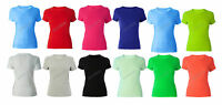 Women's Ladies Crew Neck T-Shirt 100% Cotton Short Sleeve T Shirt 11 Colours