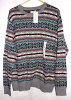 Men's Sonoma Gray Striped Crew Neck Pullover Sweater - Size L - NWT