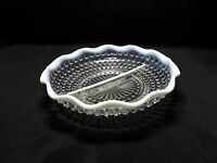 "Vintage FENTON Opalescent MOONSTONE HOBNAIL Glass 8"" RELISH DISH (TH1290/1)"