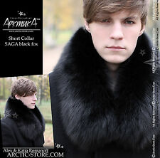 New Russian BLACK blue polar Fox Fur Pelerine Collar scarf Men Arctic-store