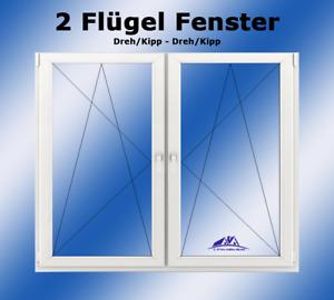 Kunststofffenster 2 Flügel DK-L / DK-R  900 x 900 Breite x Höhe in mm