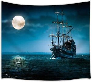 Gothic Tapestry, Pirate Ship and Full Moon with Sea Ocean Tapestry 36x24 In