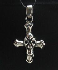 Sterling Silber Anhänger Kreuz mit Totenkopf solide punziert 925 handgefertigt
