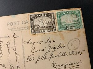 Yemen - Aden Harbour censored PPC w Boat 1&1/2An Stamps tied Aden 1938 to Italy