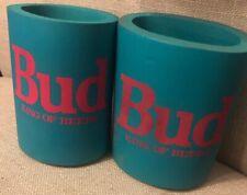 Pair of Vintage Koolie Bud King Of Beers koozie holder Blue Pink Teal 80's