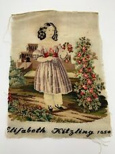 Antique Victorian Fine Needlepoint Embroidery Sampler Young Girl Rose Bush 1854