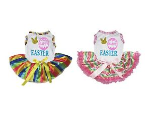 Happy Easter Egg White Top Rainbow Striped Tutu Pet Dog Dress Puppy Clothes