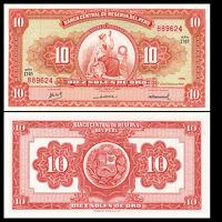 Peru 10 Soles Banknote, 1968, P-84, UNC, America Paper Money, Original