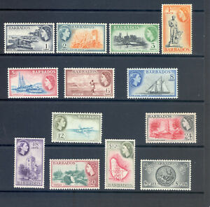 BARBADOS SG 289-301 1953 Q E II DEFINITIVE SET MNH