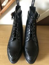 Dr marten Geordin Black Polished Leather Boots, Size 9, New