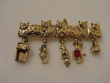 dangling charms bird mice & yarn Ajc goldtone 5 cat pin w/ 5