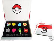 Hot Cosplay POKEMON Badges in box Indigo League 8pcs Kanto Badge Pin Popular New